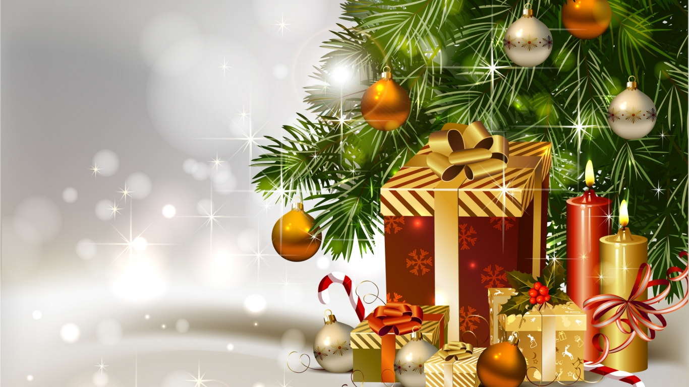 Gifts Under Christmas Tree for 1366 x 768 HDTV resolution