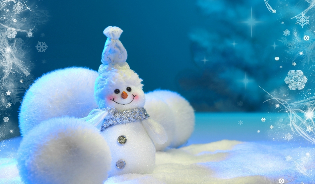 Happy Little Snowman for 1024 x 600 widescreen resolution