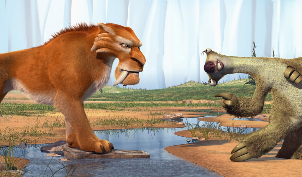 Ice Age Diego and Sid for 1024 x 600 widescreen resolution