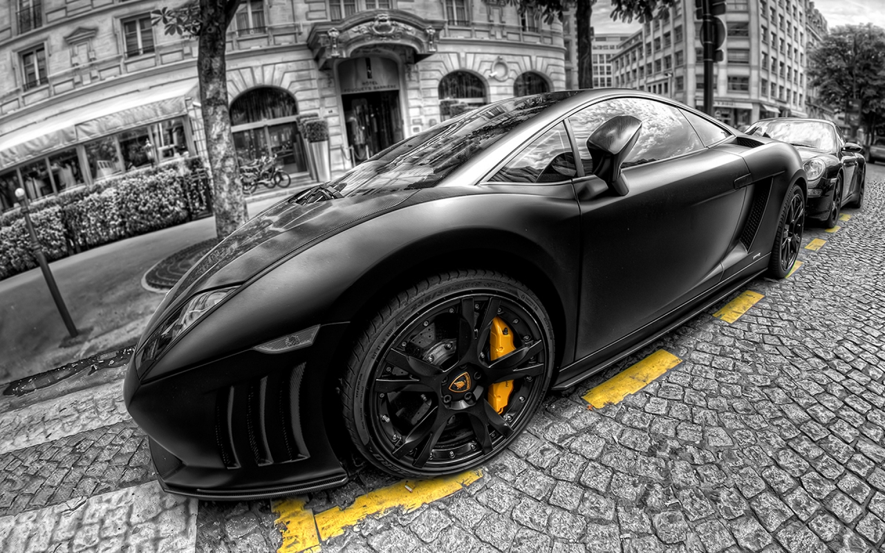 Lamborghini Gallardo Black for 1280 x 800 widescreen resolution
