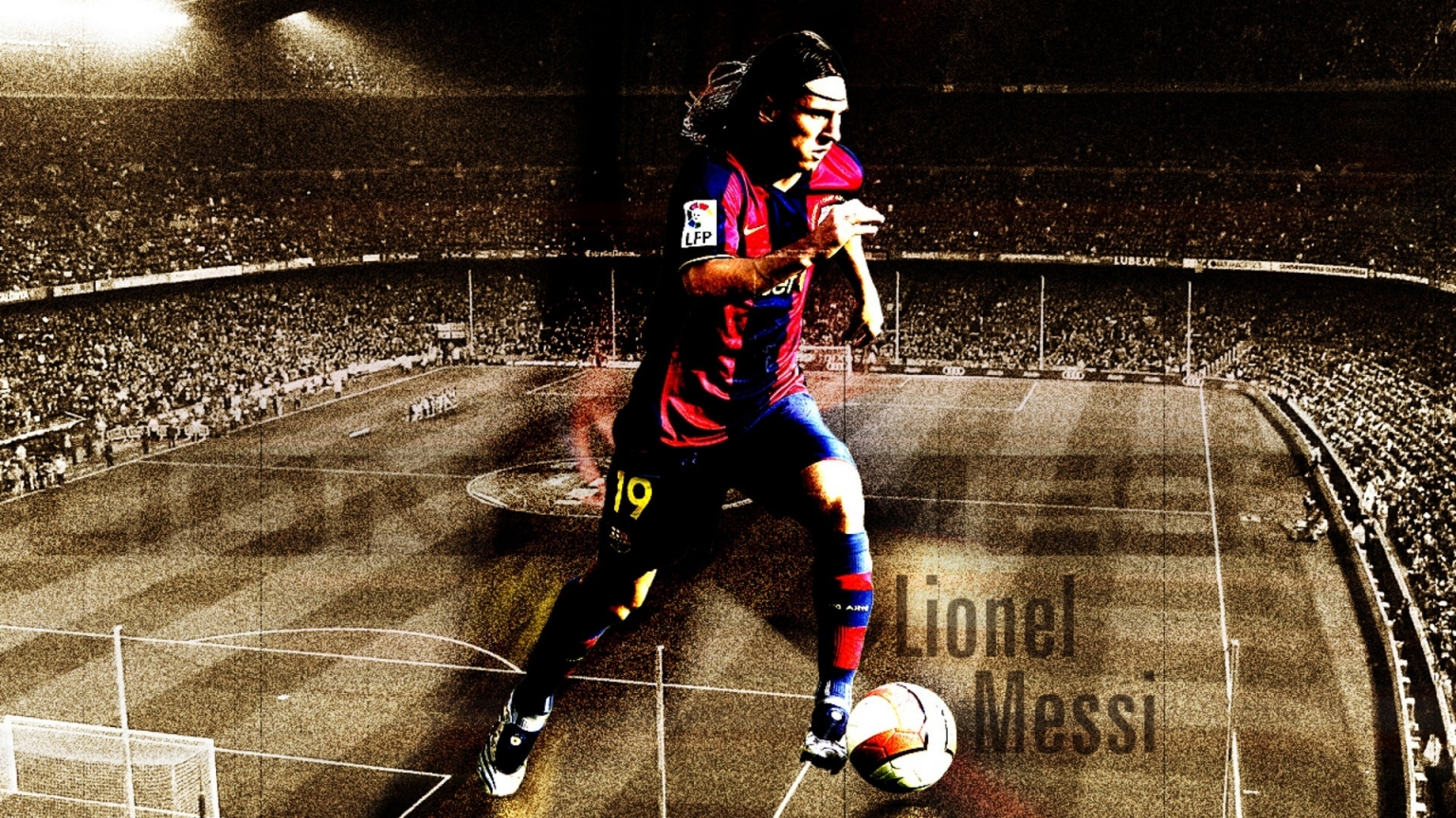 Lionel Messi Barcelona Fan Art for 1536 x 864 HDTV resolution