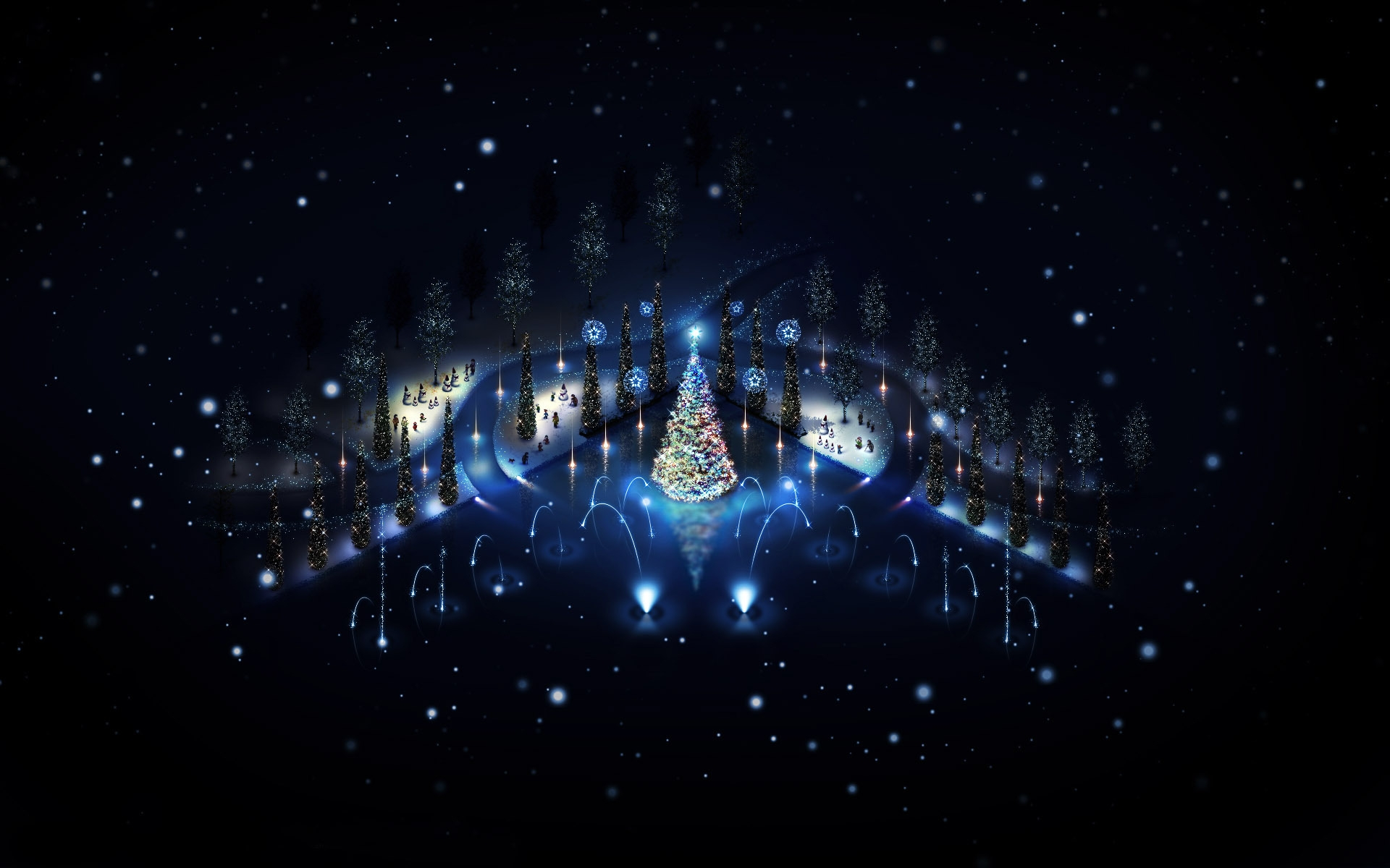 Lovely Christmas Trees Lighting for 1920 x 1200 widescreen resolution