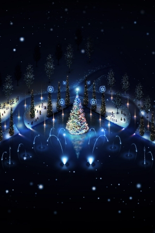 Lovely Christmas Trees Lighting for 320 x 480 iPhone resolution