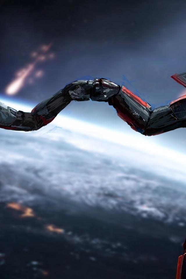 Mass Effect Jane And John Shepard 640 X 960 Iphone 4 Wallpaper