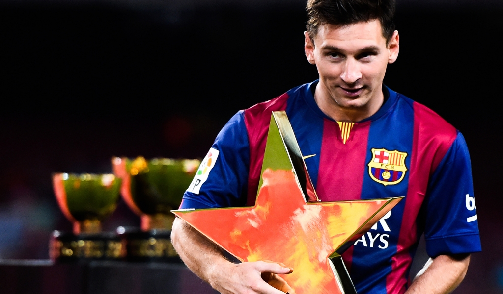 Messi Star Shaped Award for 1024 x 600 widescreen resolution