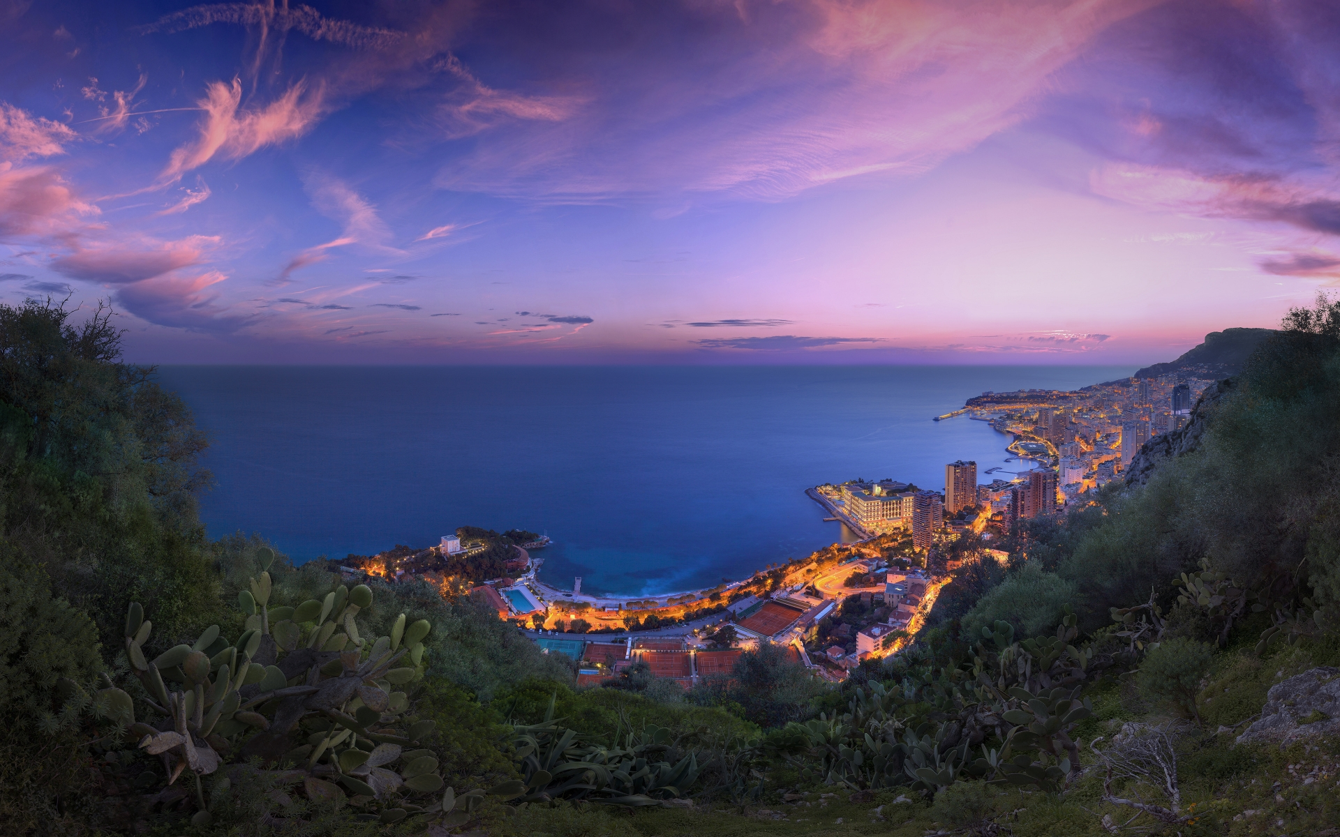 Monaco Winter Clouds Panorama for 1920 x 1200 widescreen resolution