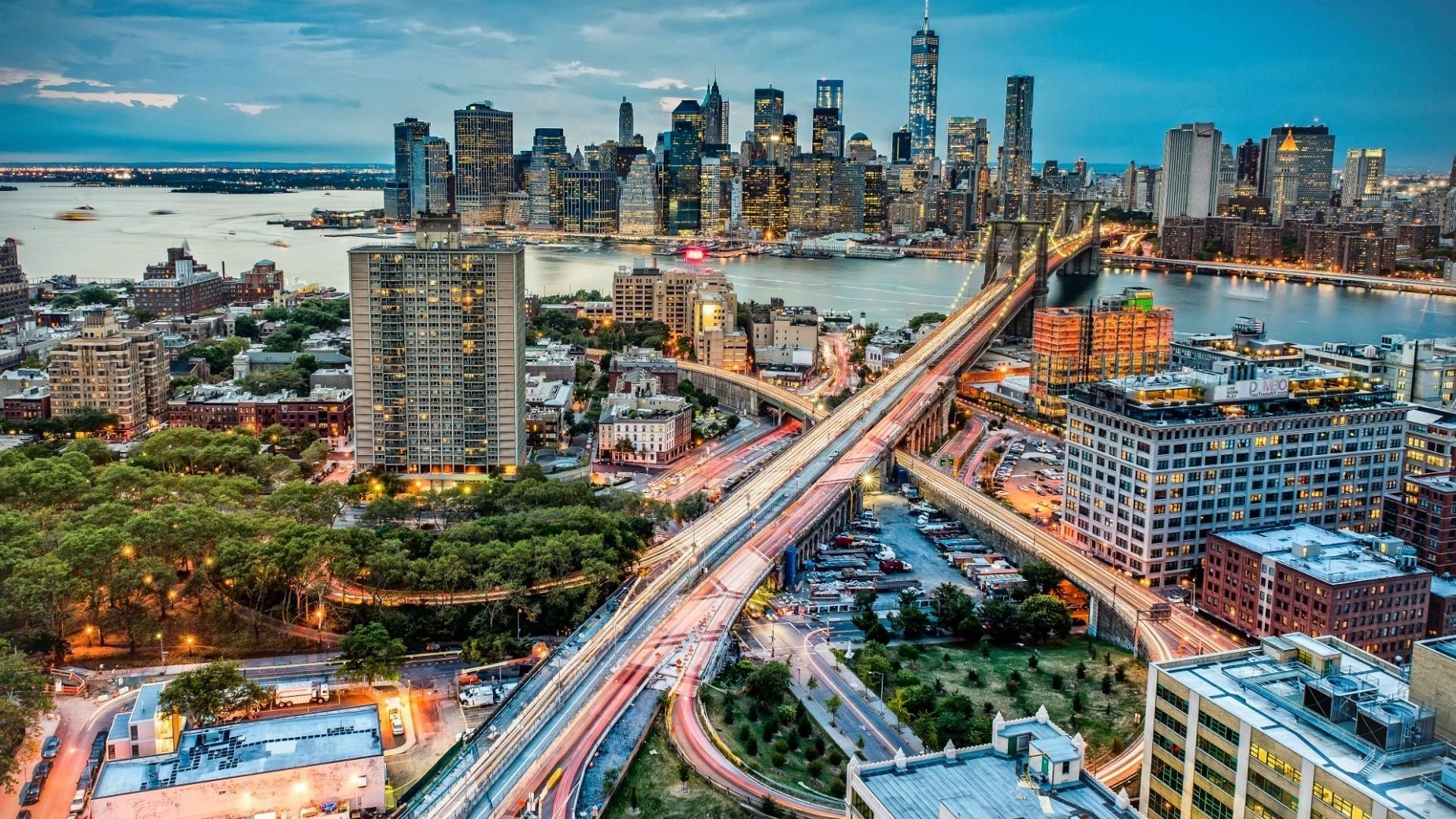 Night in manhattan new york 1920 x 1080 hdtv 1080p wallpaper - Wallpaper 1080p new york ...