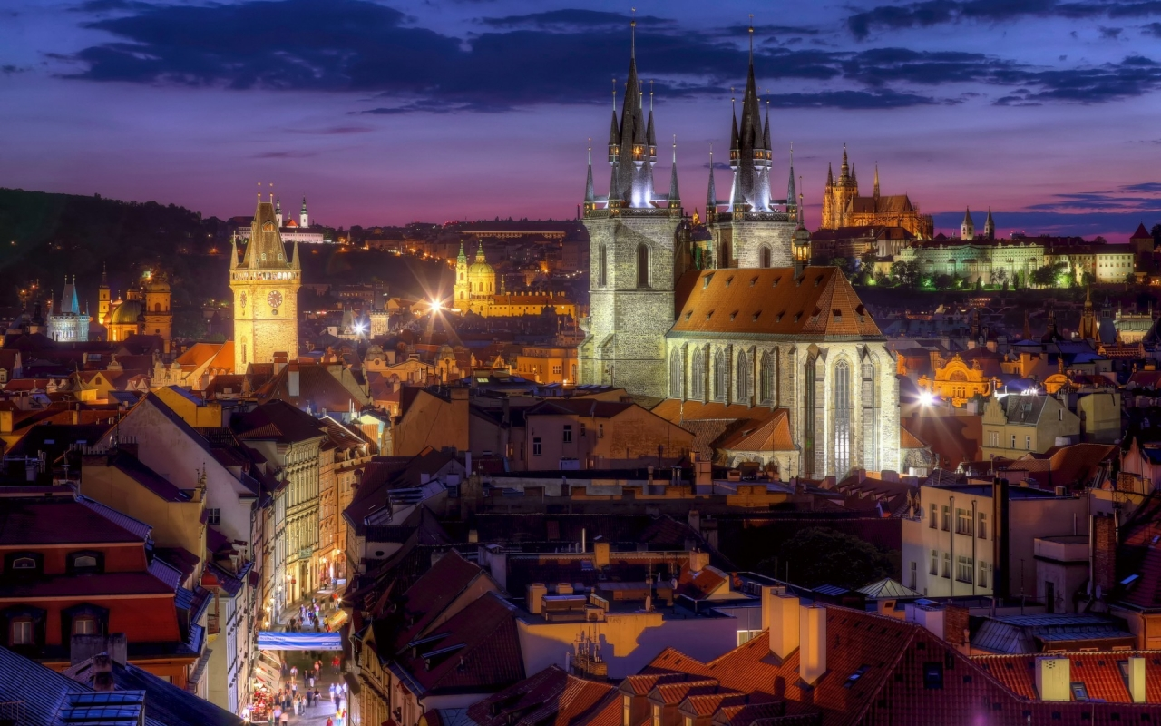 Night Lights in Prague for 1280 x 800 widescreen resolution