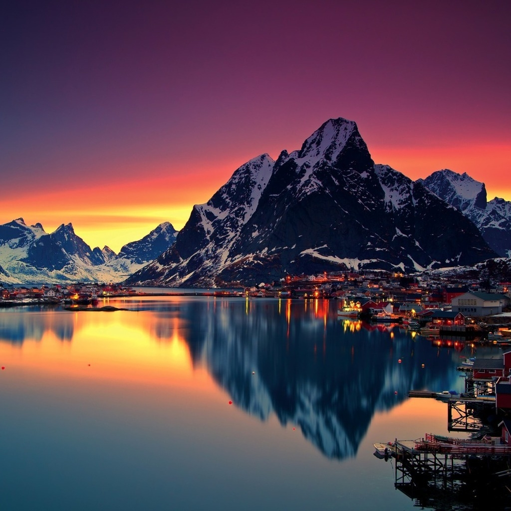 Night Lofoten Islands Norway for 1024 x 1024 iPad resolution
