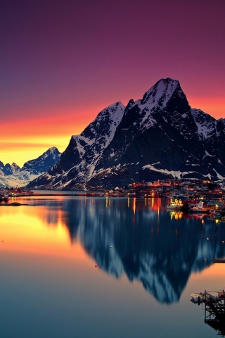 Night Lofoten Islands Norway for 320 x 480 iPhone resolution