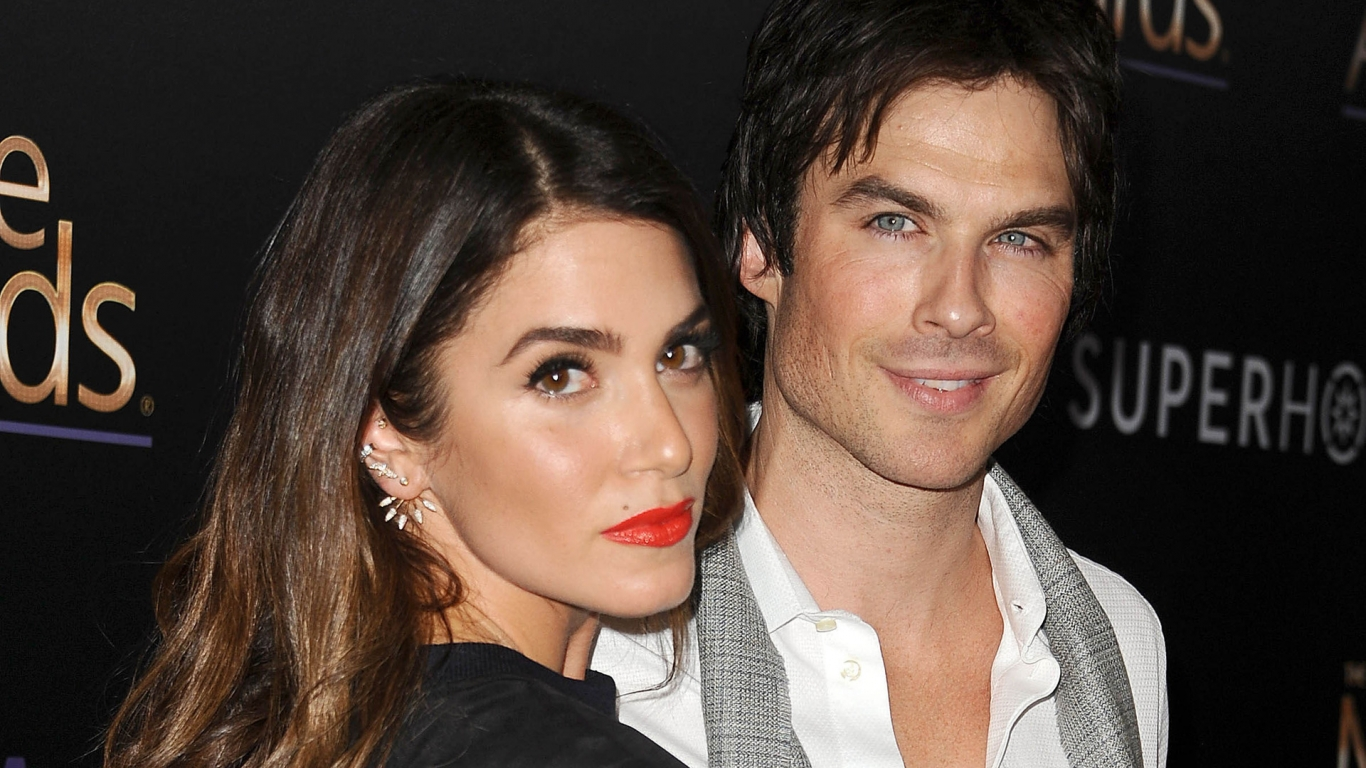Nikki Reed and Ian Somerhalder for 1366 x 768 HDTV resolution