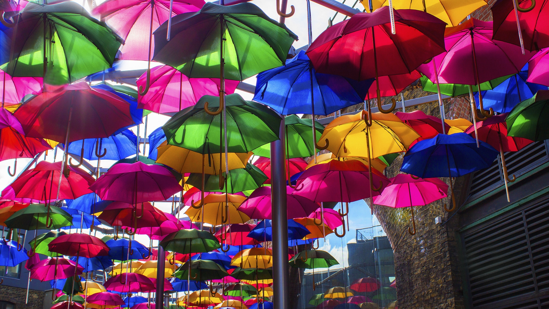 Opened Colorful Umbrellas for 1920 x 1080 HDTV 1080p resolution