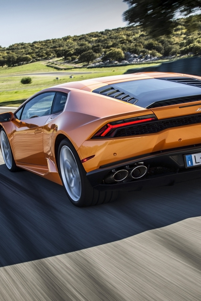 Orange Lamborghini Huracan 640 X 960 Iphone 4 Wallpaper