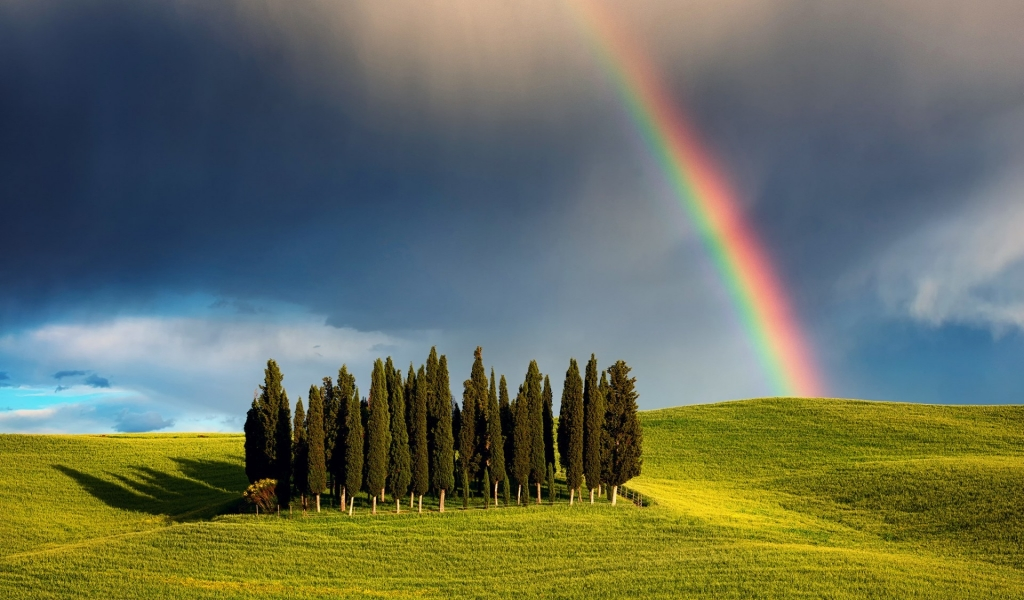 Rainbow in Tuscany for 1024 x 600 widescreen resolution