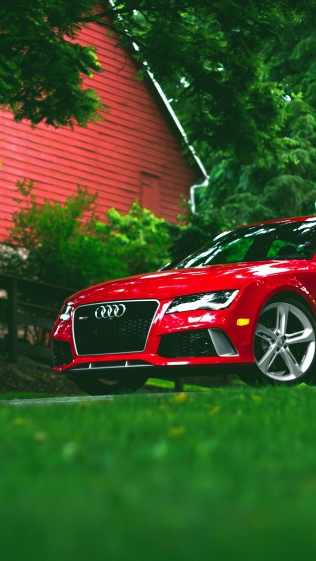 Red Audi RS7 for 640 x 1136 iPhone 5 resolution