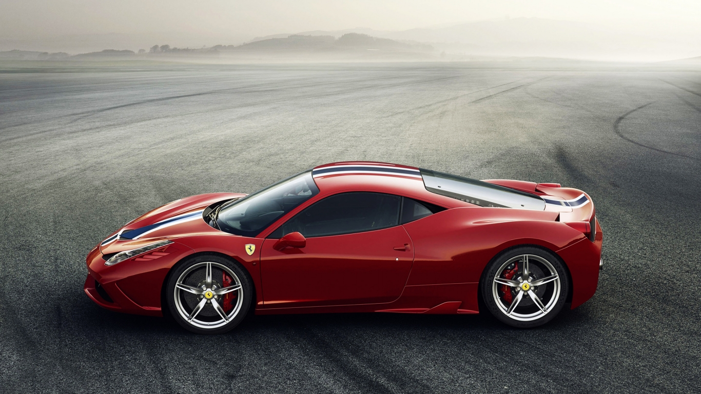 Red Ferrari 458 Speciale for 1366 x 768 HDTV resolution