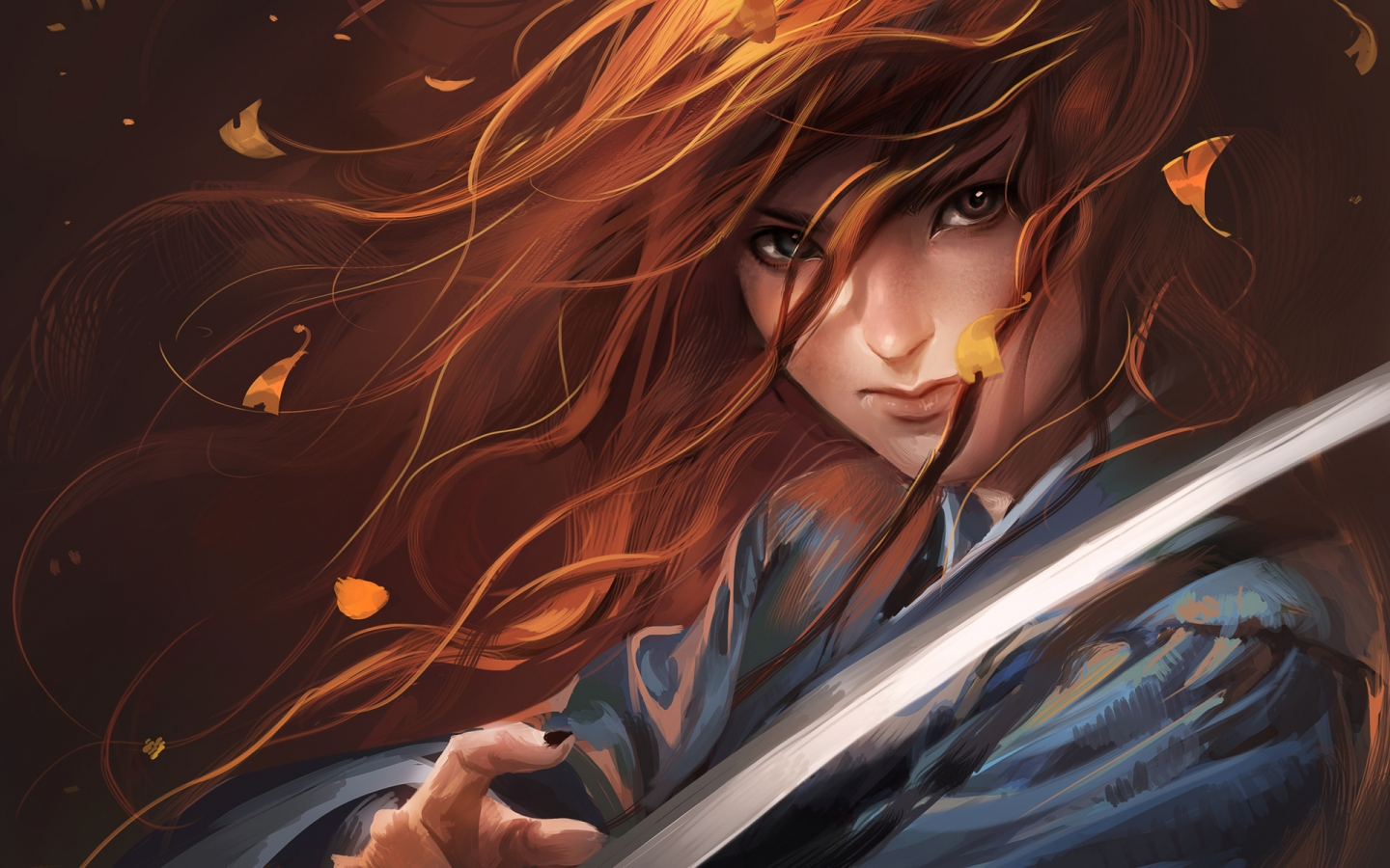 Red Haired Samurai for 1440 x 900 widescreen resolution