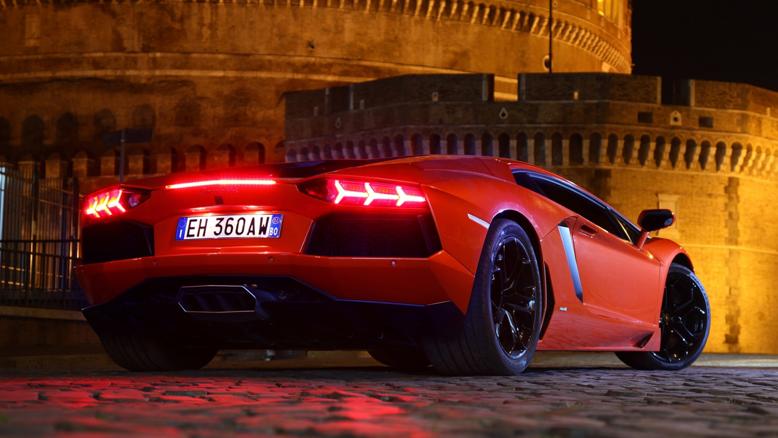 Red Lamborghini Aventador for 1536 x 864 HDTV resolution