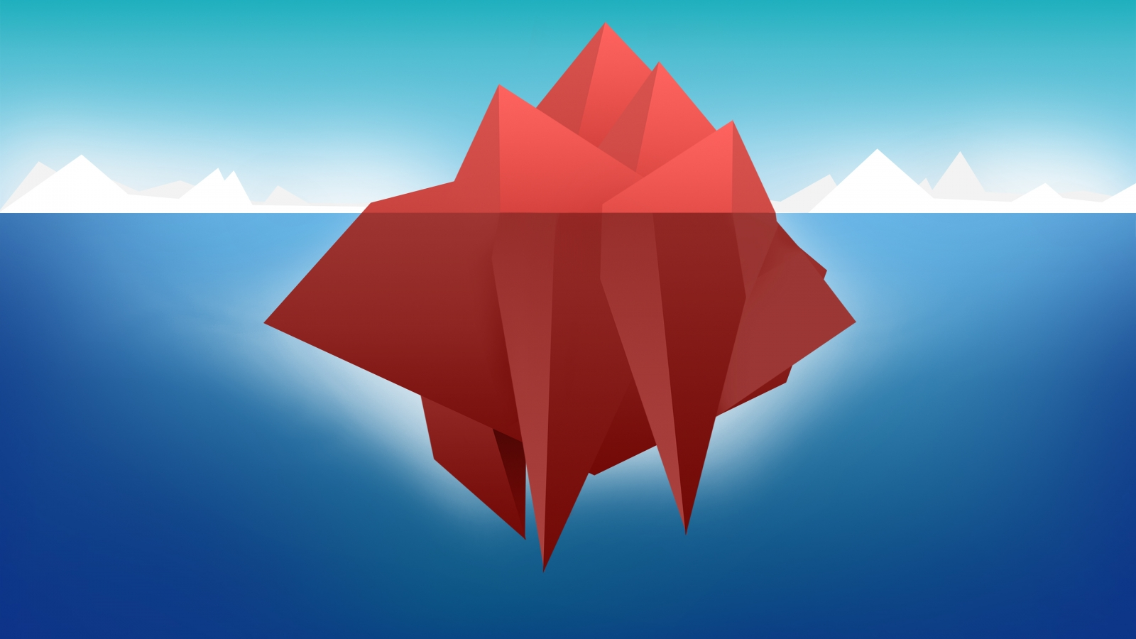 Red Minimal Iceberg for 1600 x 900 HDTV resolution
