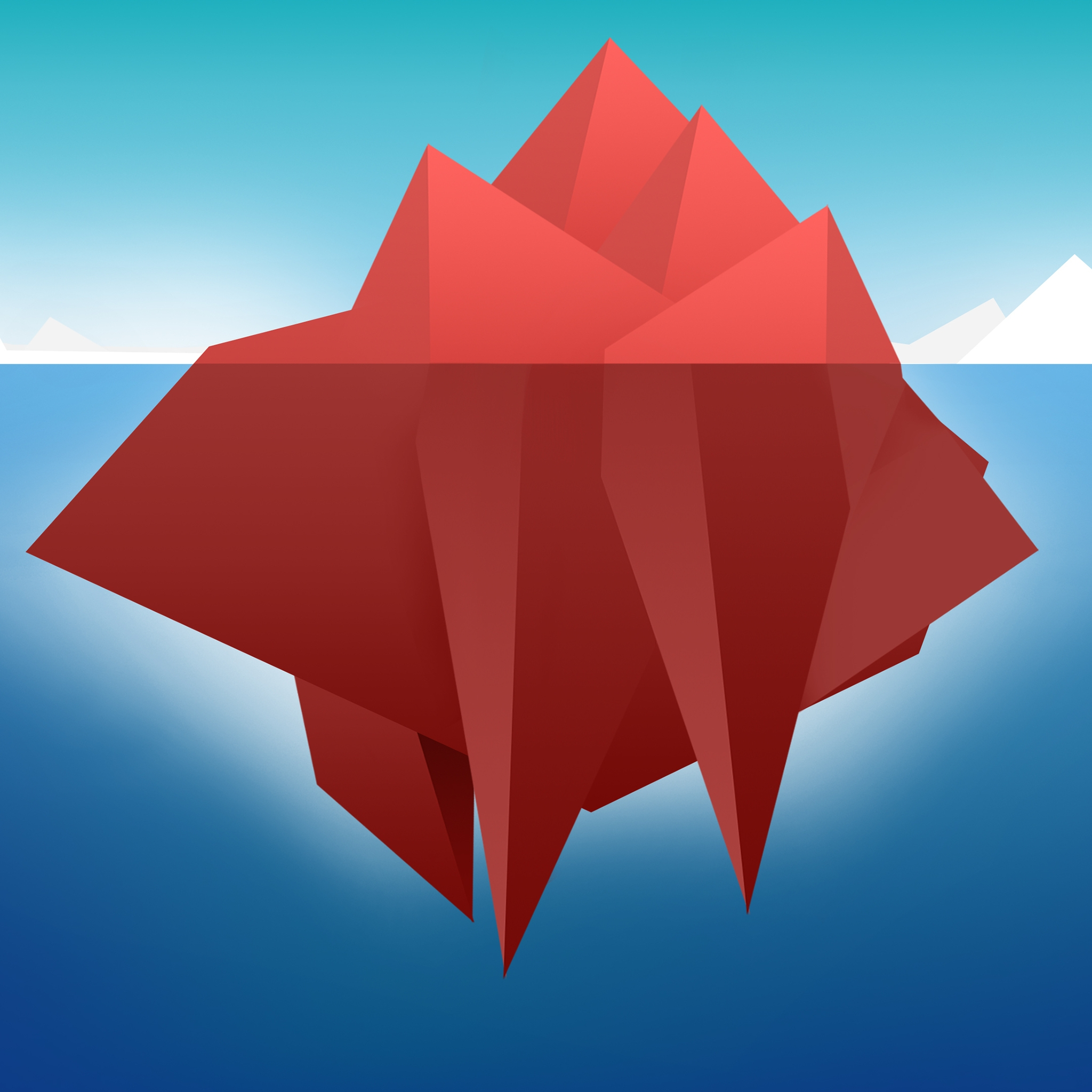 Red Minimal Iceberg for 2048 x 2048 New iPad resolution
