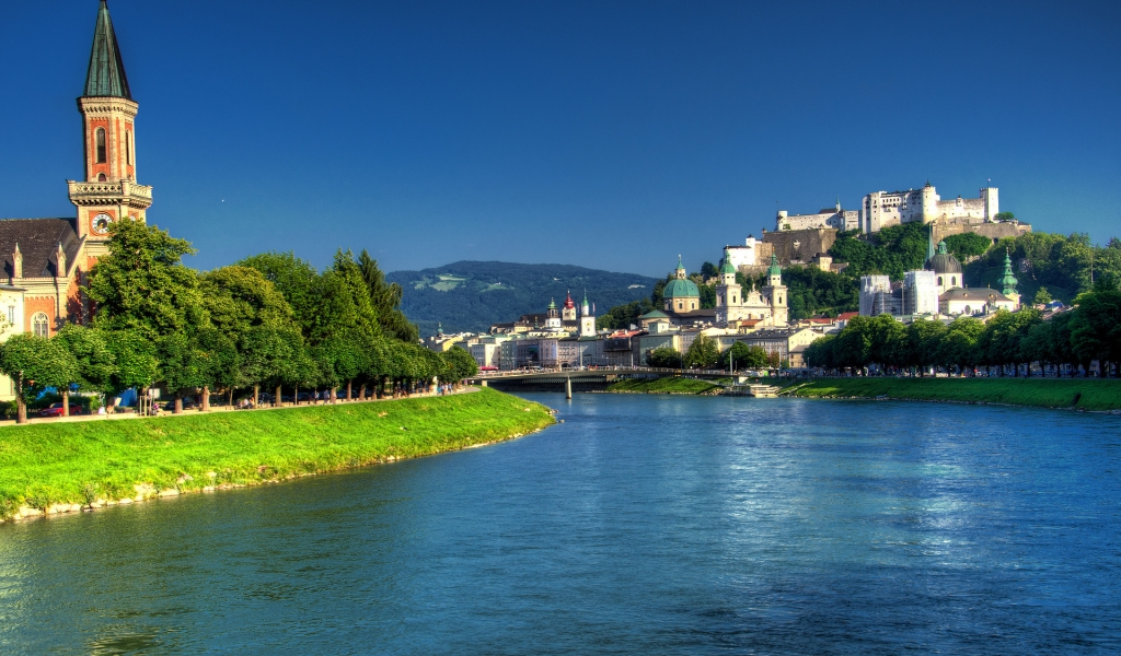 Salzach River Salzburg  for 1024 x 600 widescreen resolution