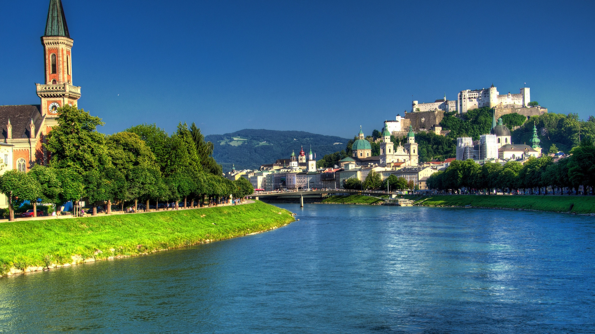 Salzach River Salzburg  for 1920 x 1080 HDTV 1080p resolution