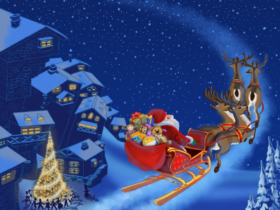 Santa Clause Flying for 1152 x 864 resolution
