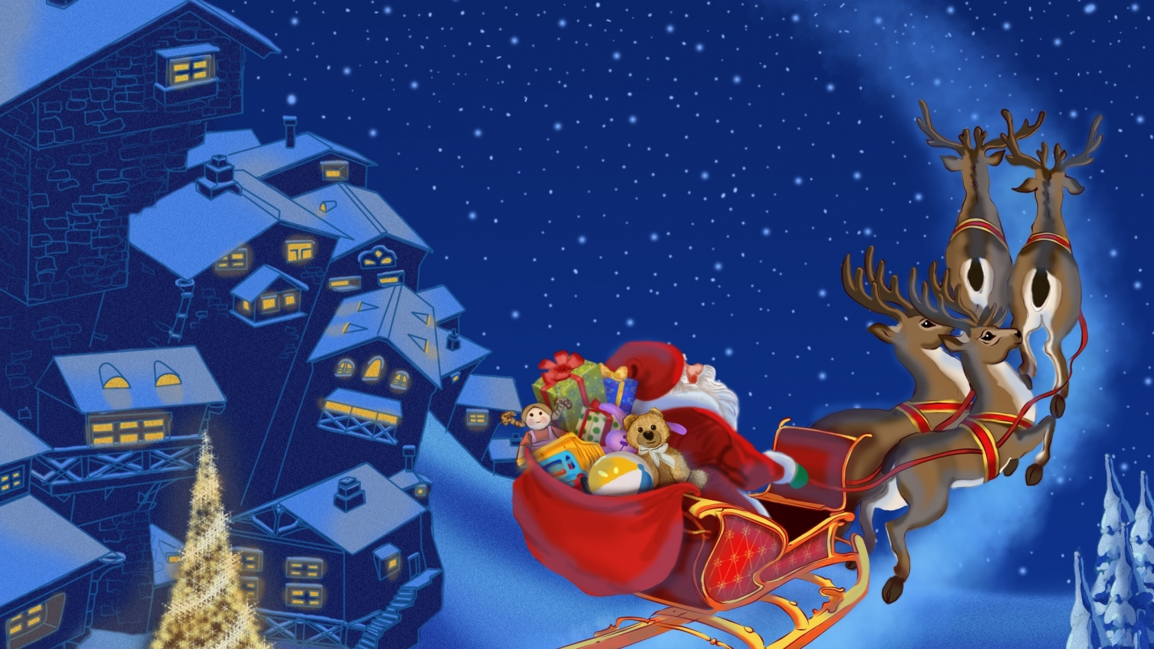 Santa Clause Flying for 1680 x 945 HDTV resolution