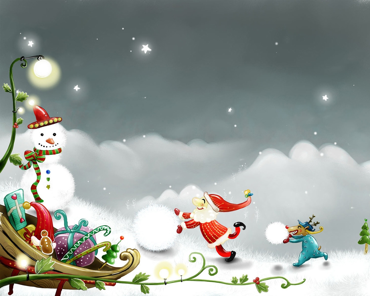 Snowman and Santa Claus for 1280 x 1024 resolution