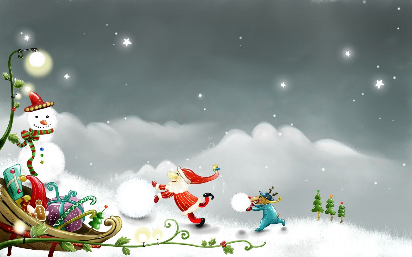 Snowman and Santa Claus for 1440 x 900 widescreen resolution