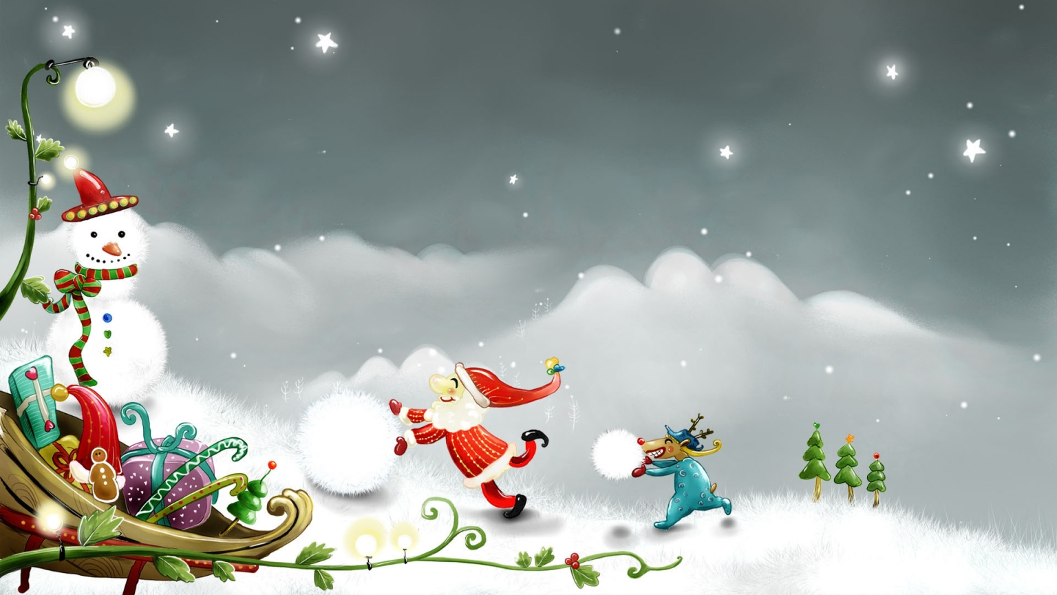 Snowman and Santa Claus for 1536 x 864 HDTV resolution