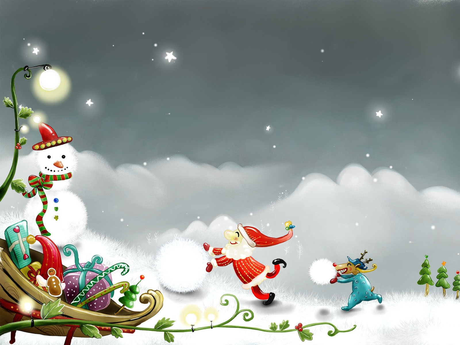 Snowman and Santa Claus for 1600 x 1200 resolution