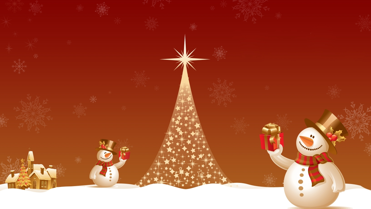 Snowman Close to Christmas Tree for 1280 x 720 HDTV 720p resolution