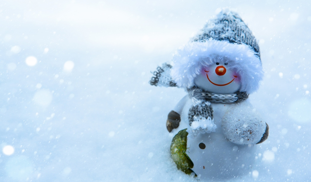 Snowman Smiling for 1024 x 600 widescreen resolution