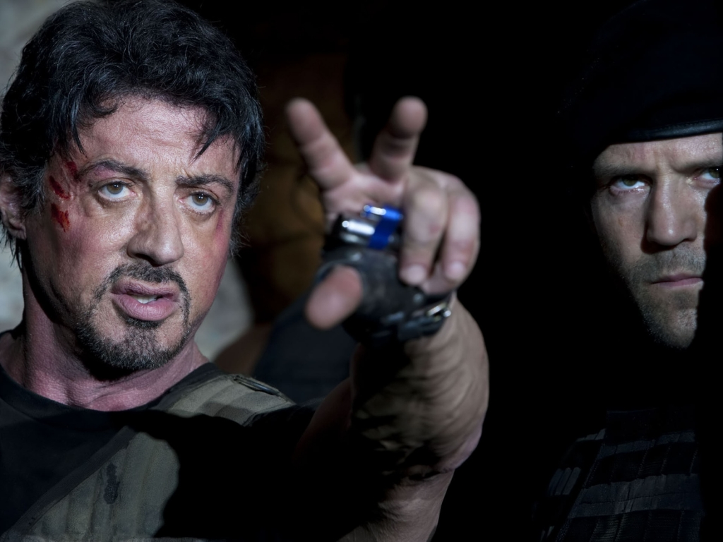 Stallone and Statham in Expendables for 1024 x 768 resolution