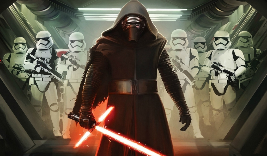 Star Wars VII Darth Vader and Storm Troopers for 1024 x 600 widescreen resolution