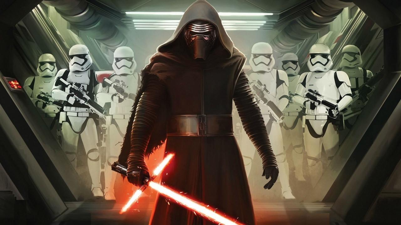 Star Wars VII Darth Vader and Storm Troopers for 1280 x 720 HDTV 720p resolution