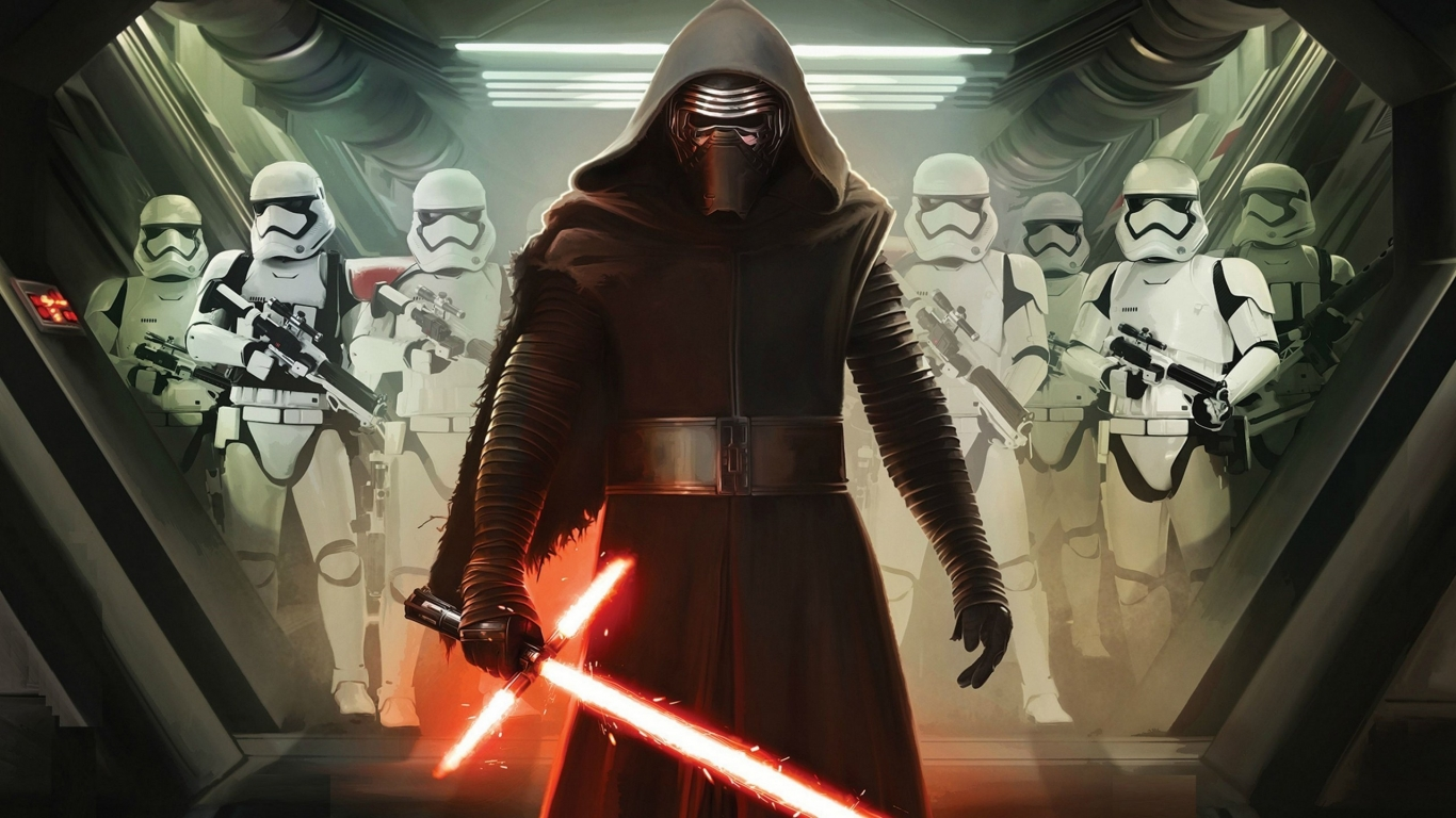 Star Wars VII Darth Vader and Storm Troopers for 1366 x 768 HDTV resolution