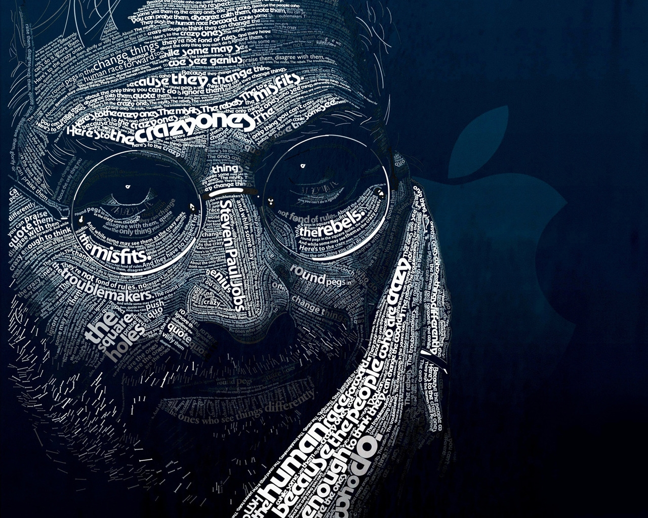 Steve Jobs Word Art for 1280 x 1024 resolution