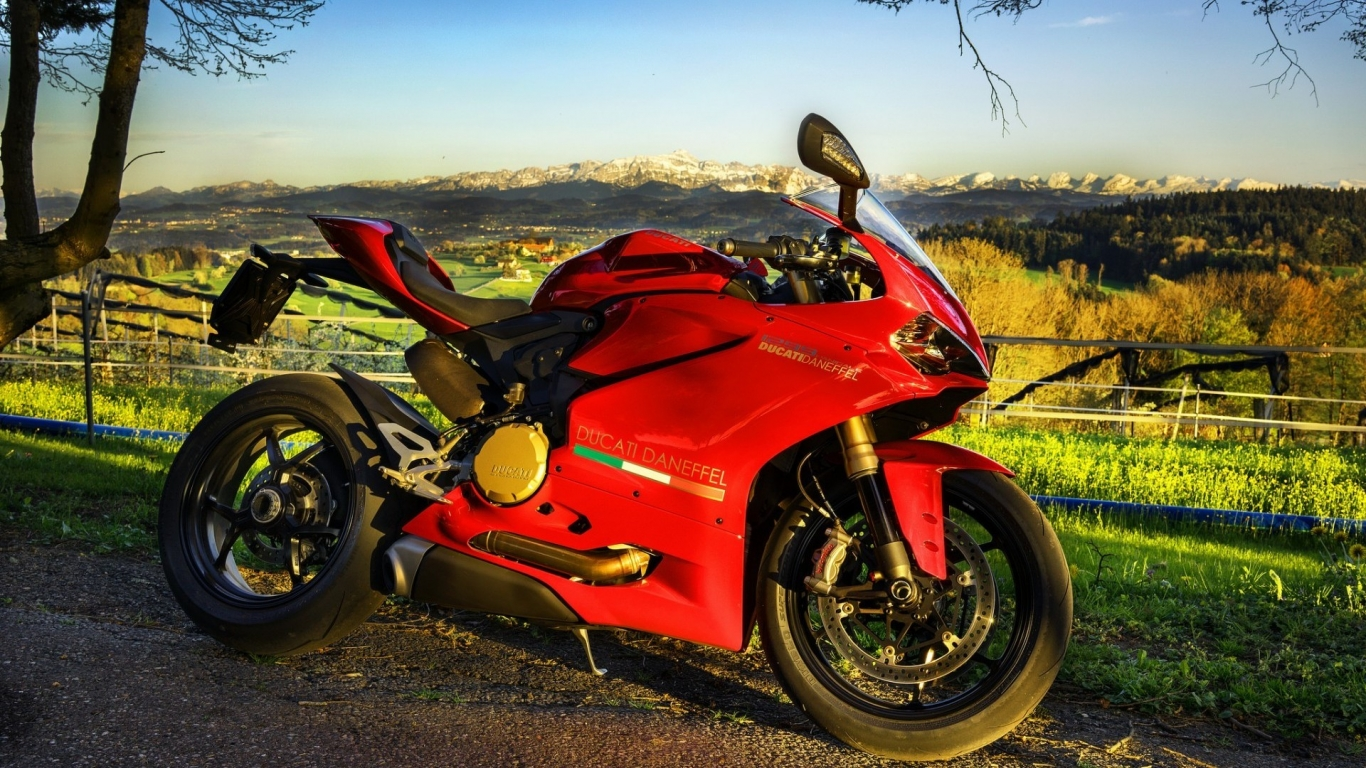 Stunning Red Ducati  for 1366 x 768 HDTV resolution
