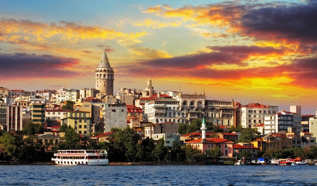 Sunset in Istambul for 1024 x 600 widescreen resolution