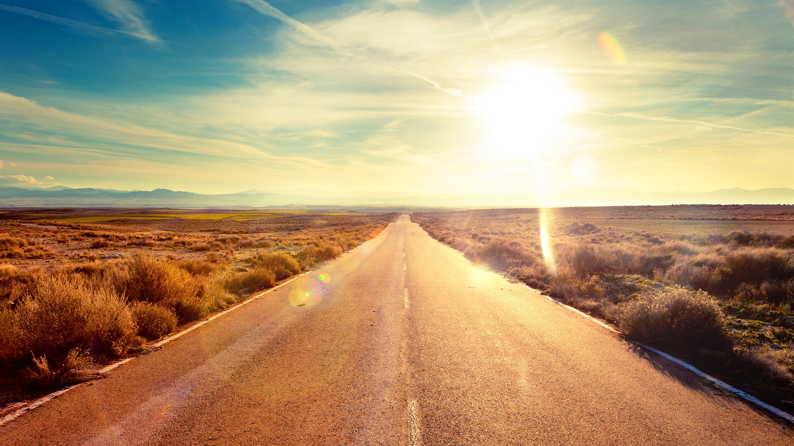 The Sunset Road Hd Wallpaper Wallpaperfx