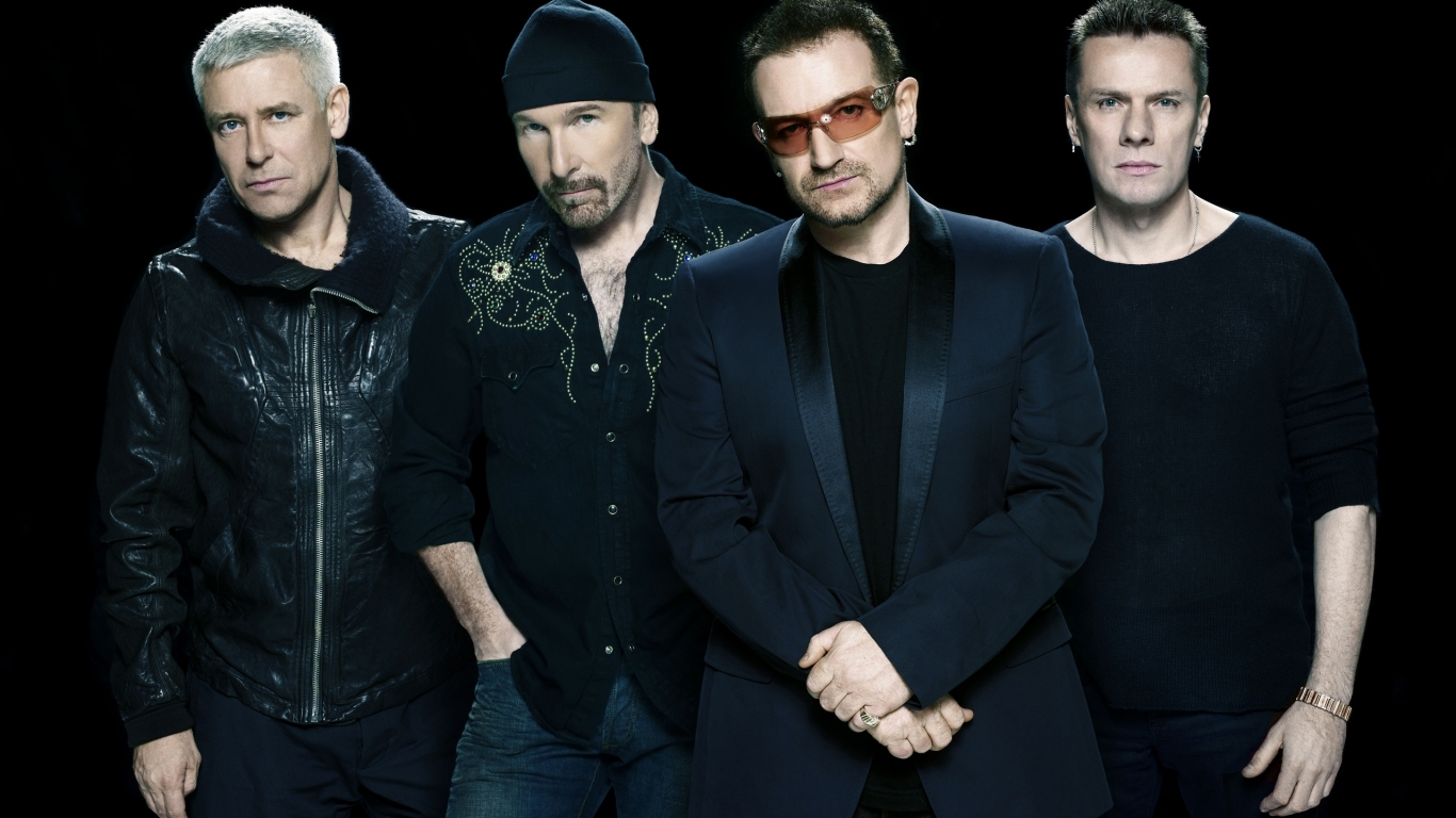 U2 black background for 1366 x 768 HDTV resolution