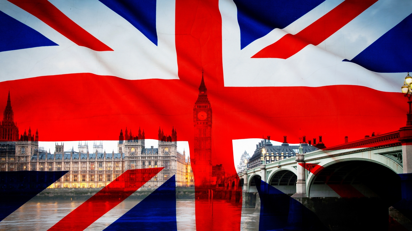 Union Jack – Flag of the UK for 1366 x 768 HDTV resolution