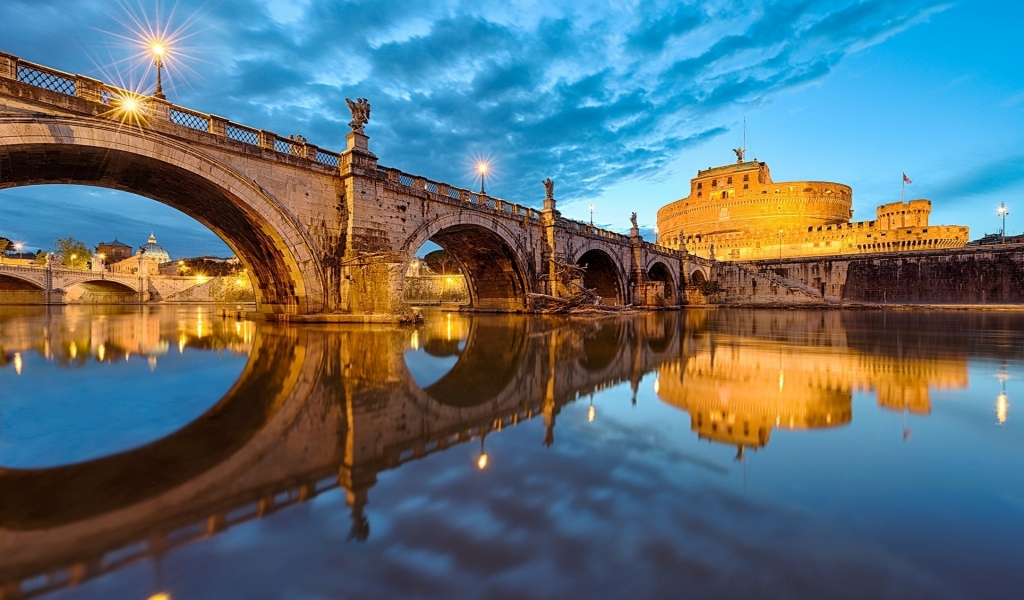 View of St Angelo Bridge for 1024 x 600 widescreen resolution