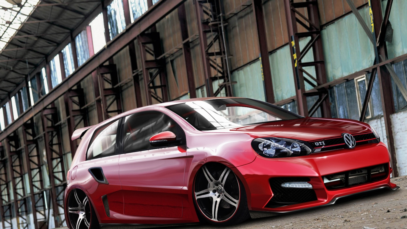 VW Golf 6 GTI Tuning for 1366 x 768 HDTV resolution