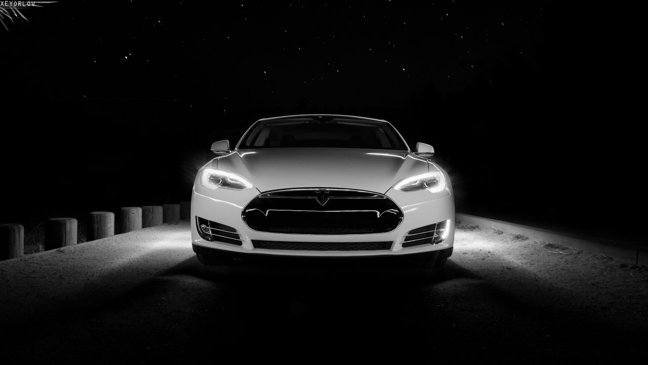 White Tesla Front  for 1280 x 720 HDTV 720p resolution