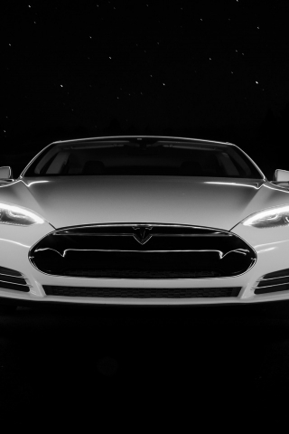 White Tesla Front  for 320 x 480 iPhone resolution