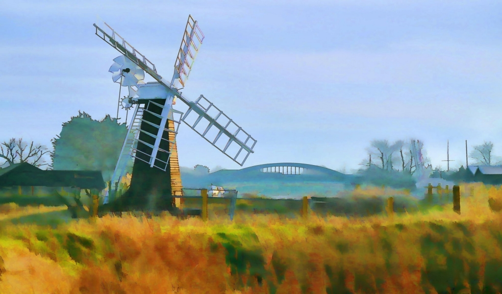 Windmill Painting for 1024 x 600 widescreen resolution