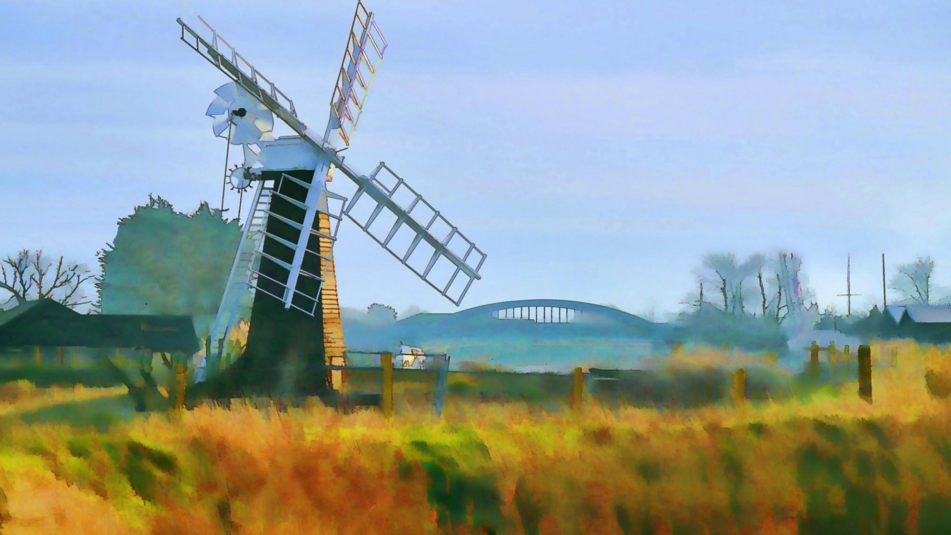 Windmill Painting for 1366 x 768 HDTV resolution